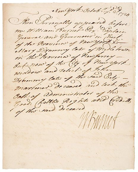 3007: WILLIAM BURNET Signed Document 1724