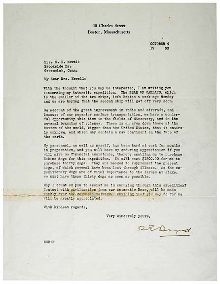 3009: RICHARD E. BYRD Signed Letter, 1933