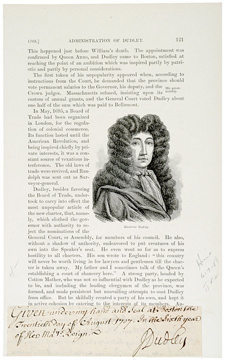 3014: JOSEPH DUDLEY, 1707 Cut Document Signed