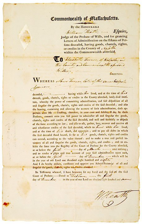 3017: General WILLIAM HEATH Signed Broadside 1807
