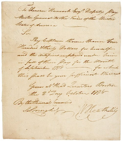 4007: WILLIAM HEATH Signed Document 1778