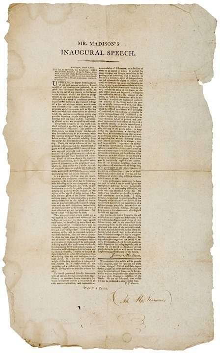 4008: JAMES MADISON Inaugural Address, 1809