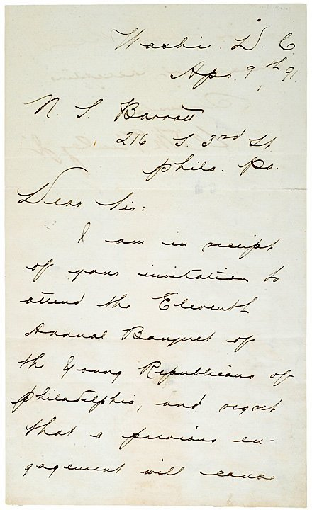 4009: WILLIAM McKINLEY 1891 Letter Declining Invitation