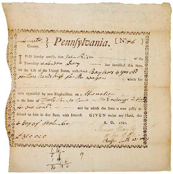 4015: Pennsylvania Revolutionary War Bond, 1780