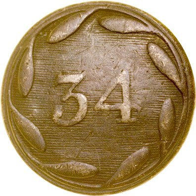4020: Revolutionary War British 34th Foot Reg. Button