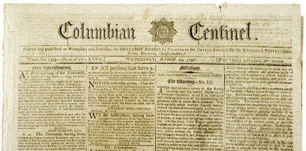 4023: 1797, COLUMBIAN CENTINEL Newspaper