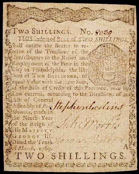 4170: Colonial Currency, PA, March 10, 1769, 2s, A