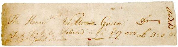 5001: Governor WILLIAM GREENE, 1755 Document Signed