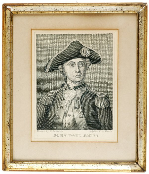 5008: JOHN PAUL JONES Pen + Ink Portrait by Samuels