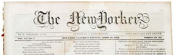 5019: April 20, 1839 Newspaper, THE NEW YORKER