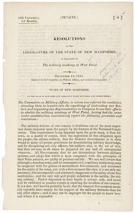 5020: 1843, US Senate Document on West Point Academy