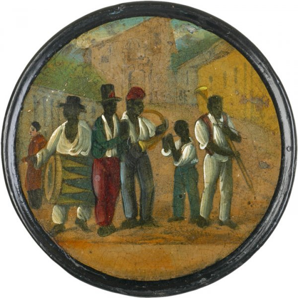 5045: Very Rare Lacquer Box Painting of Black Musicians