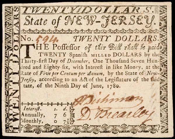 1: Colonial Currency, NJ, June 9, 1780, $20 BREARLEY