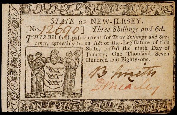 2: Colonial Currency NJ, Jan. 9, 1781, 3s6d BREARLEY
