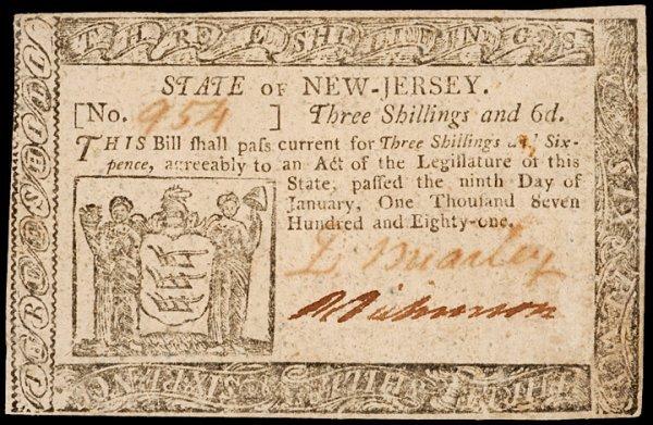 3: Colonial Currency NJ, Jan. 9, 1781, 3s6d BREARLEY