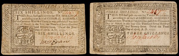5: Colonial Currency PA April 10 1776, 3s, 6s JACOBS