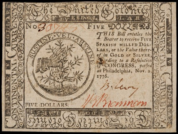 7: Colonial Currency, November 2, 1776, $5, LEVY