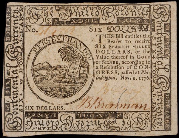 8: Colonial Currency, November 2, 1776, $6, LEVY