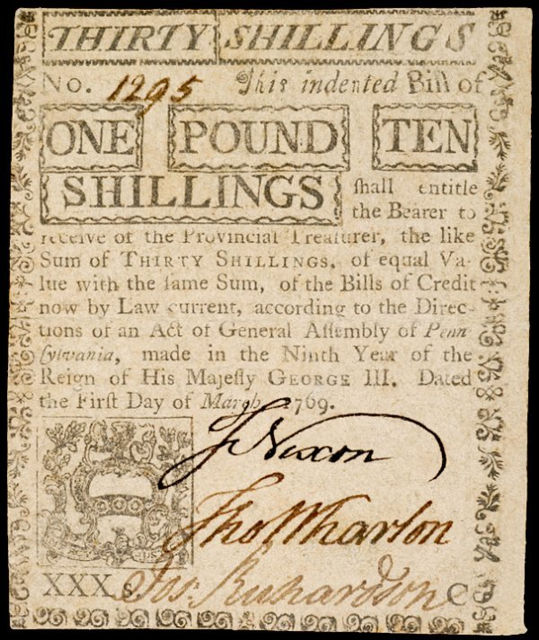 9: Col. Currency, PA March 1, 1769, £1 10s Counterfeit