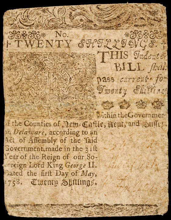 10: Colonial Currency, DEL, May 1, 1758, 20s FRANKLIN