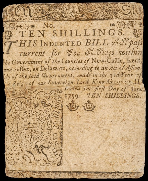 11: Colonial Currency DEL, June 1, 1759, 10s FRANKLIN
