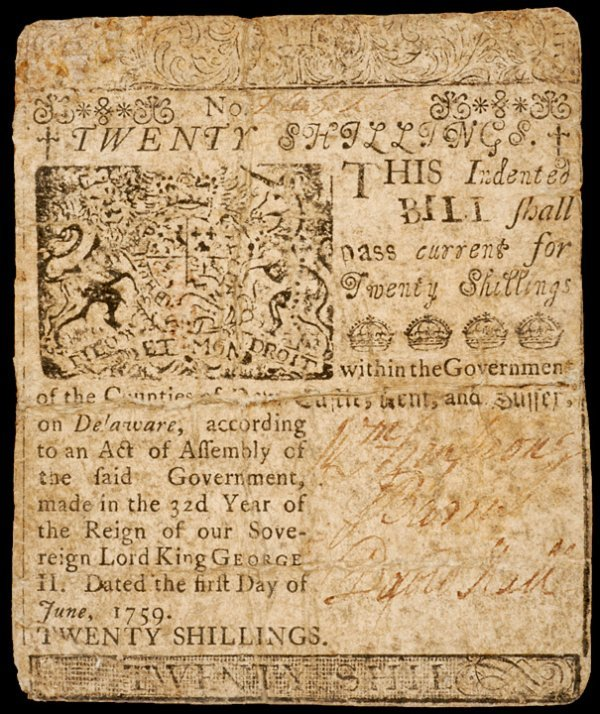 12: Colonial Currency DEL, June 1, 1759, 20s FRANKLIN