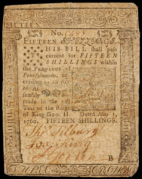 13: Colonial Currency, PA, May 1, 1760, 15s FRANKLIN