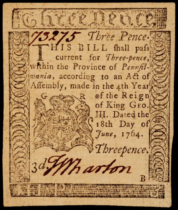 14: Colonial Currency, PA, June 18, 1764, 3d FRANKLIN