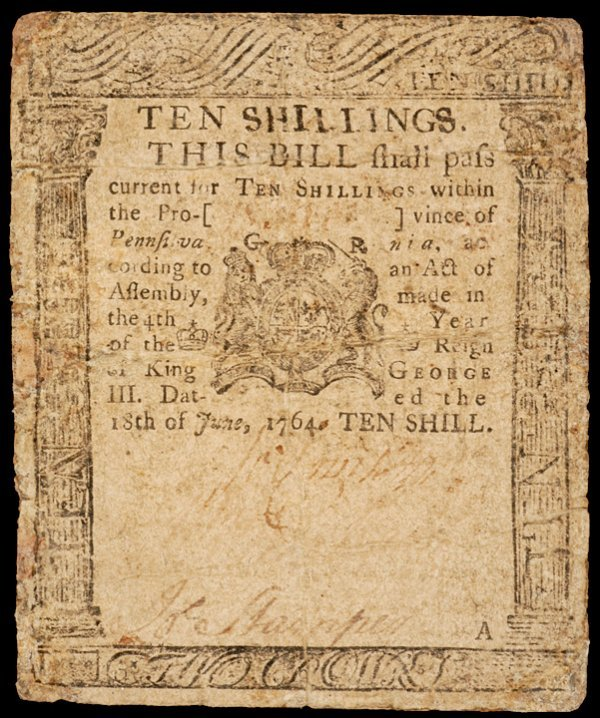 15: Colonial Currency PA, June 18, 1764, 10s FRANKLIN