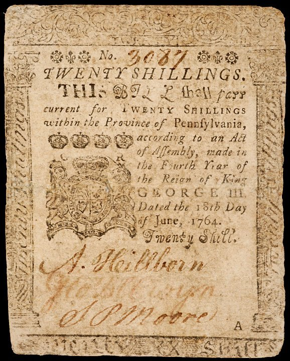 16: Colonial Currency PA, June 18, 1764, 20s FRANKLIN