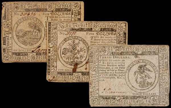 18: Continental Currency, Three Notes