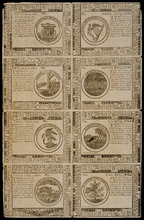 19: Continental Currency 1775 Sheet DETECTOR NOTES