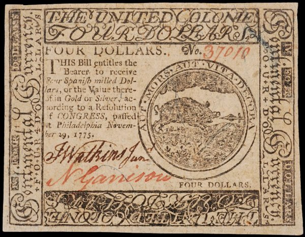 20: Continental Currency, November 29, 1775 $4