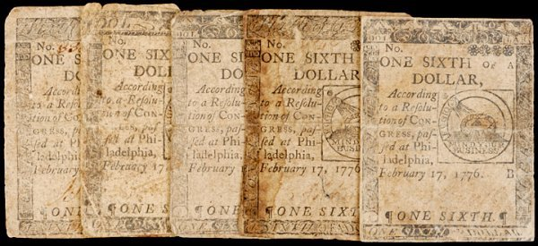 22: Continental Currency 2-17-1776, $1/6 FUGIO Notes