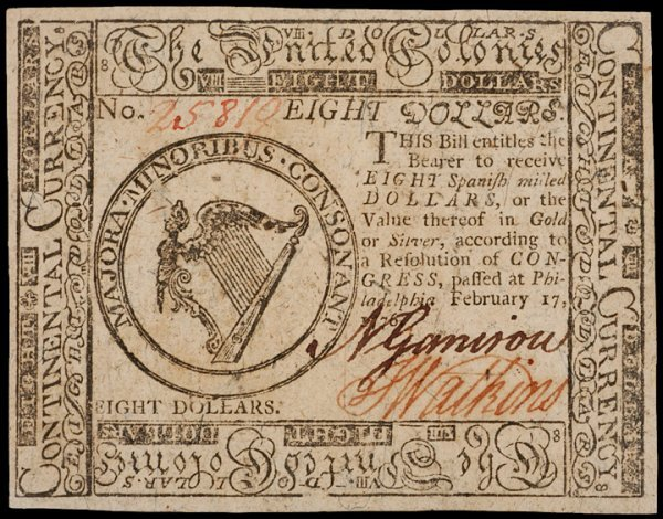 23: Continental Currency, 2-17-1776, $8 Uncirculated