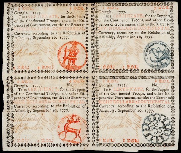 105: Colonial Currency GA Sept. 10, 1777, Uncut Block
