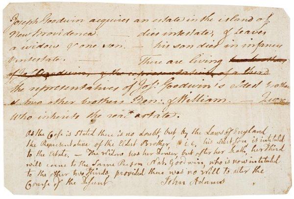 2001: Rare JOHN ADAMS Autographed Legal Manuscript