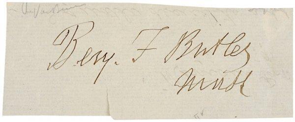 2008: BENJAMIN F. BUTLER c. 1890 Signature
