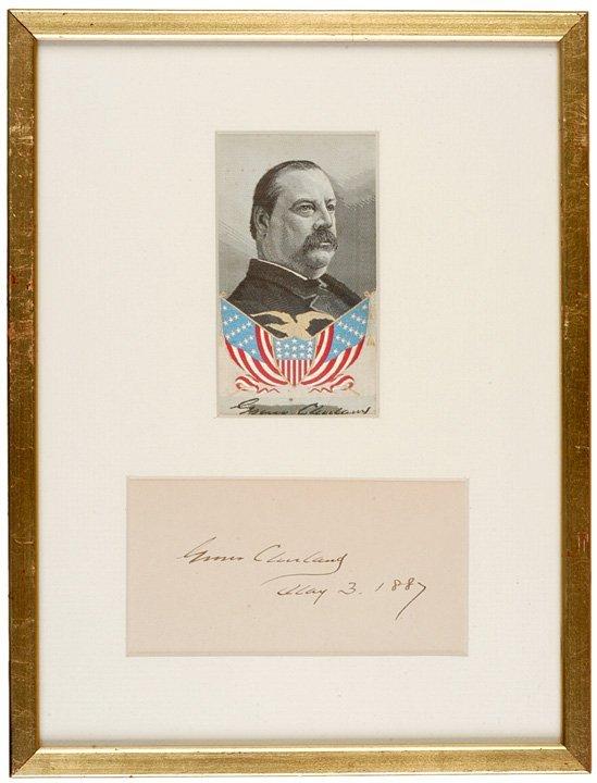 2011: Framed GROVER CLEVELAND Signature & Silk Ribbon