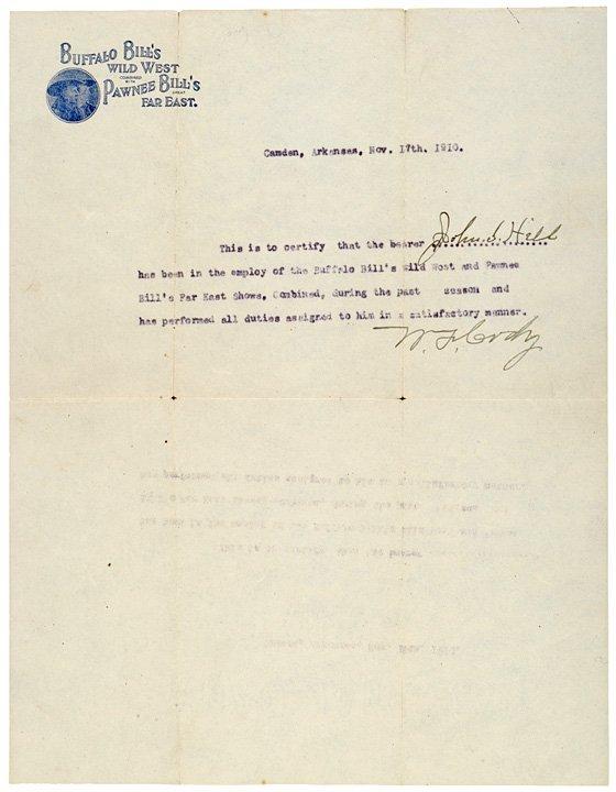 2013: BUFFALO BILL 1910 Signature & Envelope