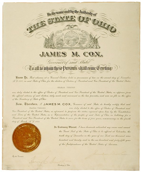 2015: 1920 Presidential Candidate Gov. JAMES M. COX