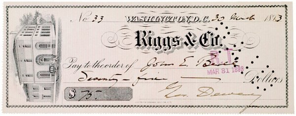 2019: Check Signed by GEORGE DEWEY, 1893