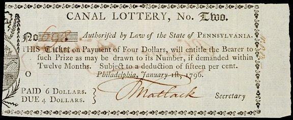 2020: 1796 Canal Lottery Ticket, Philadelphia, PA