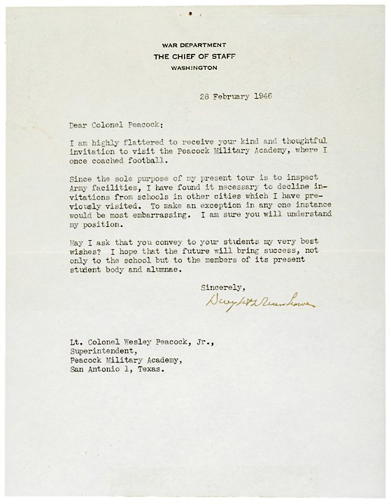 2024: DWIGHT D. EISENHOWER, Typed Letter Signed 1946