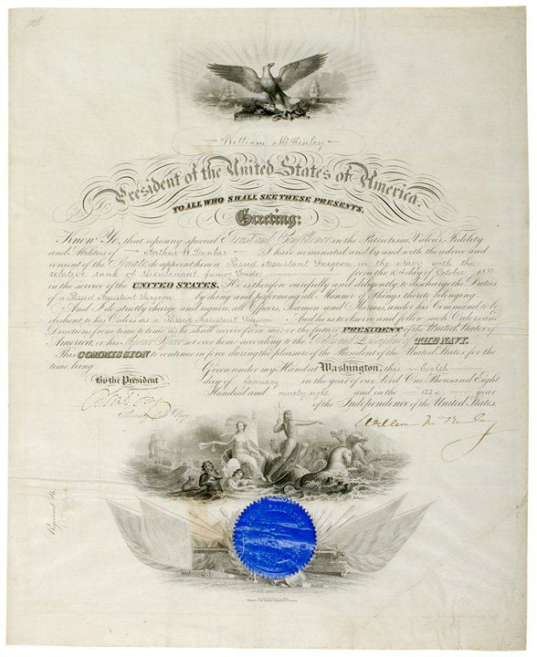 WILLIAM McKINLEY, Naval Commission Signed, 1898