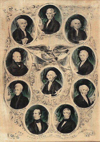 1842 Hand-colored PRESIDENTS Litho, N. Currier
