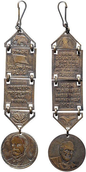 2579: Pair of 1904 Presidential Campaign Watch-Fobs
