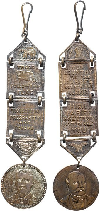 2579: Pair of 1904 Presidential Campaign Watch-Fobs - 2