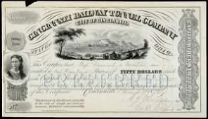 2654: 1872 Cincinnati Railway Co Stock JOHN C FREMONT
