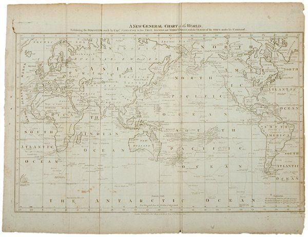 2730: Captain Cooks Map of the World, c. 1784